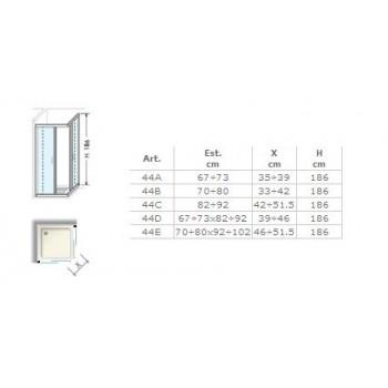Angolare Scorrevole E4E 88/91 Argento Lux Traspare per box doccia E4E0ATR0 - Box doccia in cristallo