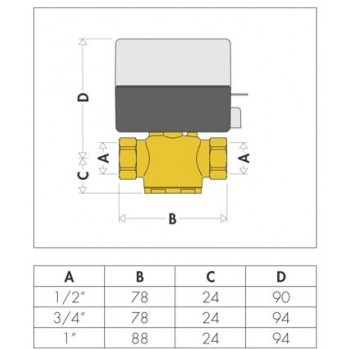 """642 valvola di zona motorizzata 2vie ø1/2"""" con microinterruttore ausiliario CAL642042"""