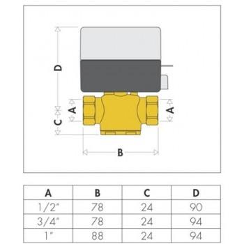 """642 valvola di zona motorizzata 2vie ø3/4"""" con microinterruttore ausiliario CAL642052"""
