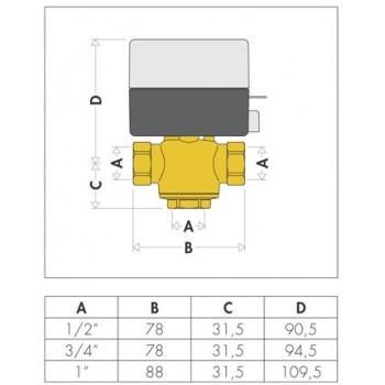"""643 valvola di zona motorizzata 3vie ø1"""" con microinterruttore ausiliario CAL643062"""