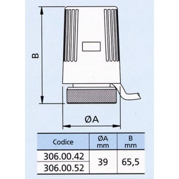 Servomotore a comando elettrotermico per valvole termostatizzabili senza microinterruttore ausiliario (2 fili) 03060002