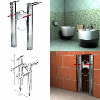 PREMIUM telaio preassemblato per lo staffaggio di WC e bidet sospesi completo di collari FIS00042898