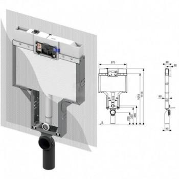 TECEbox cassetta di scarico OCTA 8cm per wc sospeso TCE9370008