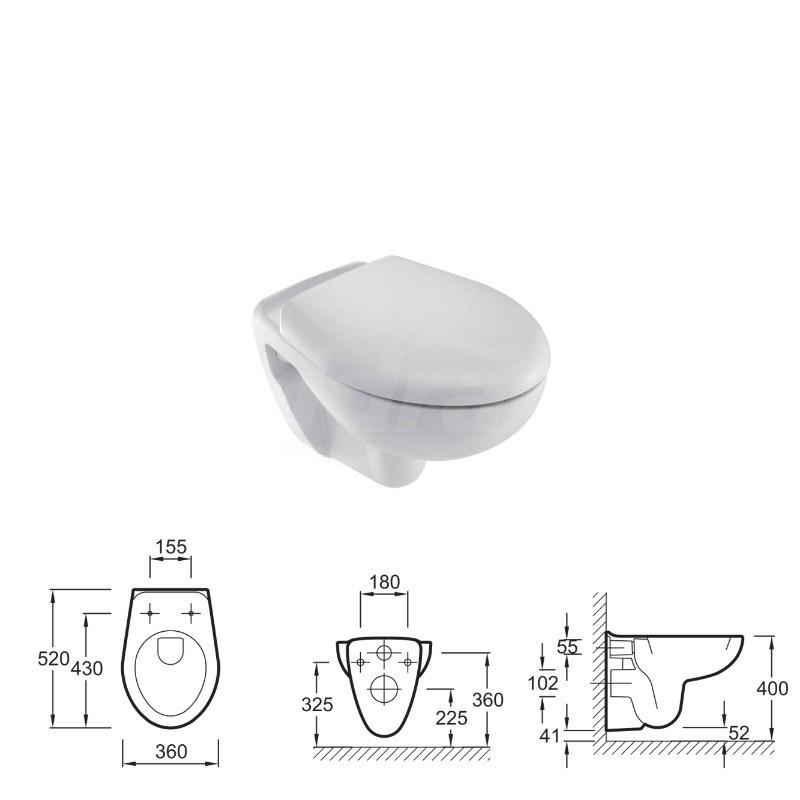 Mideo vaso sosp(52x36)WaterSav.s/sed. Bianco KLR15545K-00