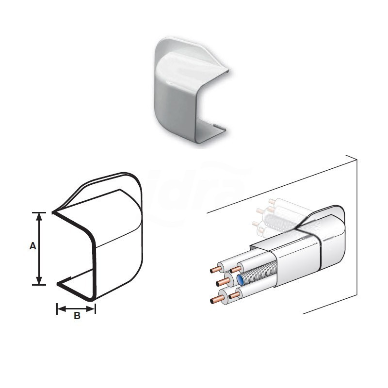 Curva a muro Pvc Ral9010 125X75mm 9803-116-08 - Canaline per tubi