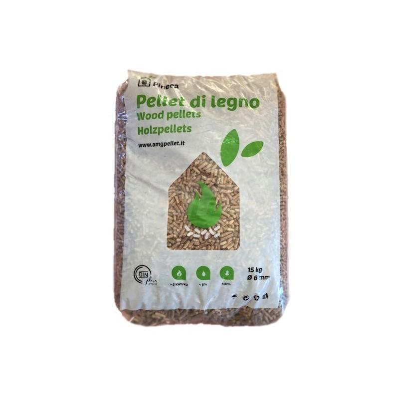 Sacchetto Pellet da 15kg puro abete 100% certificato EN-PLUS A1 AMGTIMBERPELLET