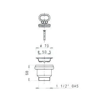 1911 piletta foro ø60 senza troppo pieno ø1.1/2 metall. LIR1911.005