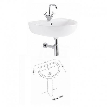 COLIBRI 2 lavabo 60 cm finitura bianco POG63040000