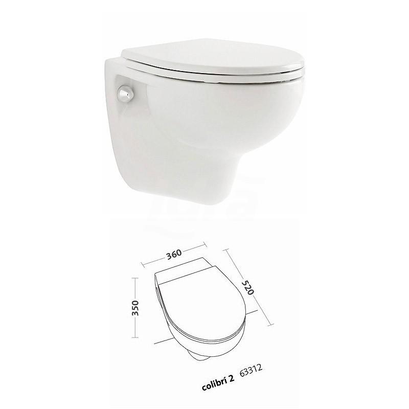 COLIBRI 2 vaso sospeso finitura bianco senza sedile 63312000