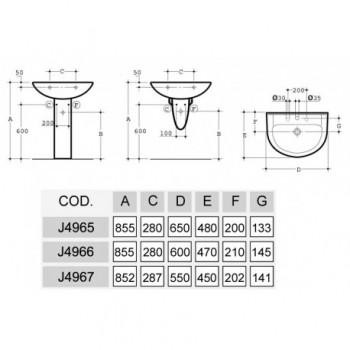 GEMMA lavabo 65x48 bianco europa IDSJ496501
