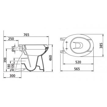MAIA wc universale senza sedile 57x39 bianco europa IDSJ498801