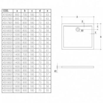 ULTRA FLAT piatto doccia rettangolare 100x70 bianco europa K193501