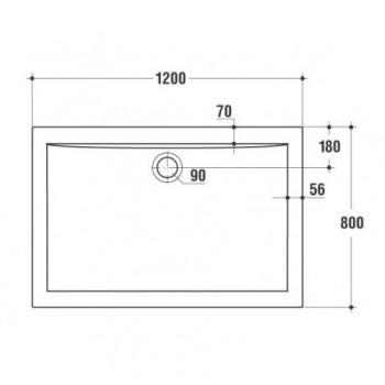 ULTRA FLAT piatto doccia rettangolare 120x80 bianco europa K518201 - Piatti doccia