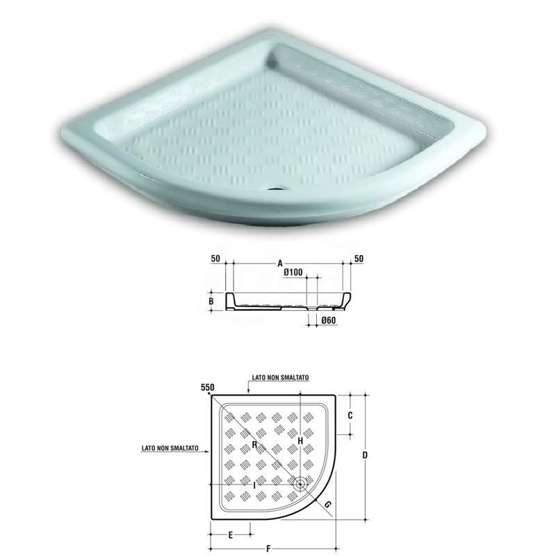 Piatto doccia angolo 80X80 cm bianco europa T117601 - Piatti doccia