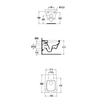 ACTIVE wc sospeso con sedile normale bianco europa T319601