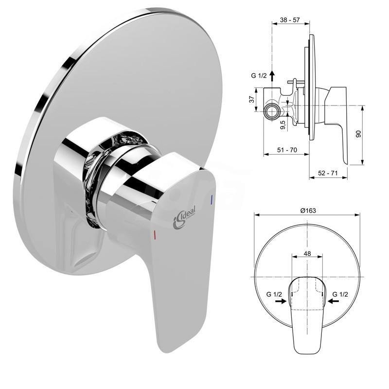 CERAPLAN III Miscelatore rubinetto monocomando per incasso doccia cromato A6382AA