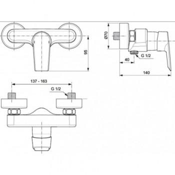 CERAMIX Miscelatore rubinetto monocomando esterno doccia cromato A6546AA - Gruppi per docce