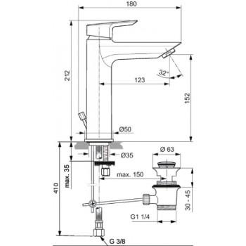 CERAMIX Miscelatore rubinetto monocomando lavabo H.15,2cm CR A6544AA