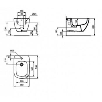 TESI bidet sospeso monoforo con fissaggi nascosti bianco europa IDST355201