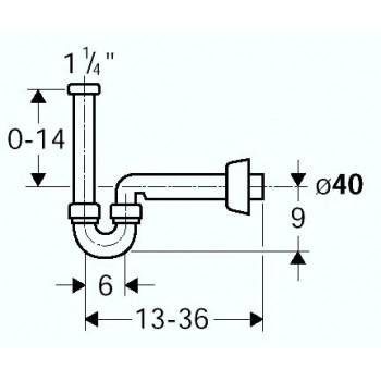 Sifone per bidet con placca PP bianco 151.101.11.1 - Sifoni in plastica