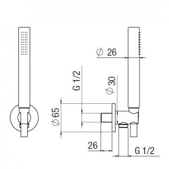 DUPLEX COMPLETO con presa acqua + ROS. ø65 cr NOBAD146/32CR