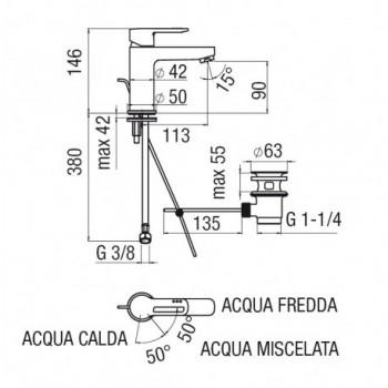 NEW ROAD Miscelatore rubinetto monocomando bidet ECO cr RDE0119/1CR - Per bidet