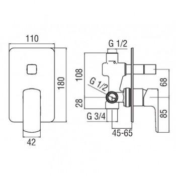 ACQUAVIVA miscelatore monocomando incasso doccia con deviatore cr NOBVV103100CR