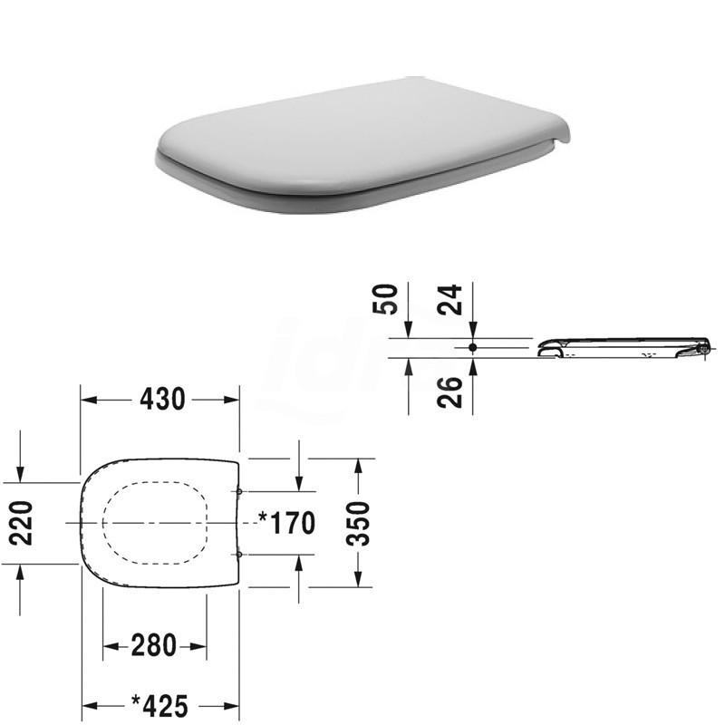 D-Code Sedile con coperchio, cerniere in acciaio inox, senza chiusura rallentata 0067310000 - Sedili per WC