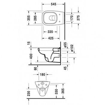 D-Code Vaso sospeso, a cacciata, EWL classe 1, Dimensione 355 x 545 mm DUR2535090000