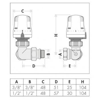 """225 valvola termostatica doppia squadra cromata ø1/2""""DX per ferro 225412 - Per corpi scaldanti"""