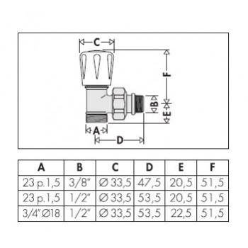 "338 valvola termostatizzabile squadra cromata ø1/2""x23/1,5 per rame CAL338402"