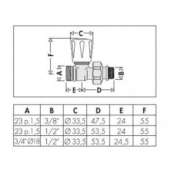 """339 valvola termostatizzabile cromata diritta ø3/8""""x23/1,5 per rame 339302 - Per corpi scaldanti"""