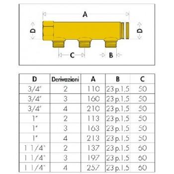 "350 collettore semplice interasse 50 ø3/4"" 4DER. ø23/1,5M 350540 - Collettori di distribuzione"