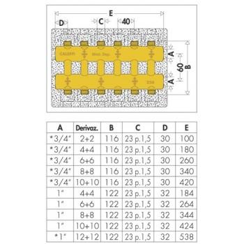 """356 collettore complanare monoblocco ø3/4"""" 10+10DER. 356510 - Collettori di distribuzione"""