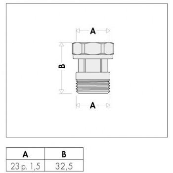 382 raccordo con girello mobile cromato ø23/1,5 CAL382000