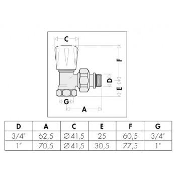 """401 valvola squadra termostatizzabile cromata ø1"""" per ferro 401603 - Per corpi scaldanti"""