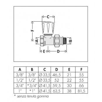 """402 valvola termostatizzabile diritta cromata ø1/2"""" per ferro 402402 - Per corpi scaldanti"""