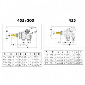 "455 valvola termostatizzabile cromata ø3/4"" per rame 455500"