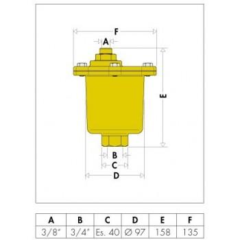 """501 MAXCAL disaeratore automatico ø3/4""""Fx3/8""""F ottone 501500 - Apparecchiature sfogo aria"""