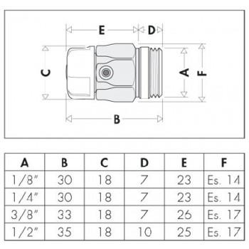 """5055 valvola manuale sfogo aria cromata ø1/4""""M con sede di tenuta in gomma 505521"""