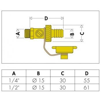 """538 rubinetto scarico caldaia con portagomma ø1/2""""M CAL538400"""