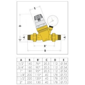 """5350 riduttore di pressione ø1.1/2"""" con manometro 0÷10bar CAL535081"""