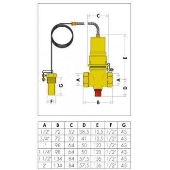"""541 valvola intercettazione combustibile ø1.1/2""""F 98°C 5M CAL541080"""