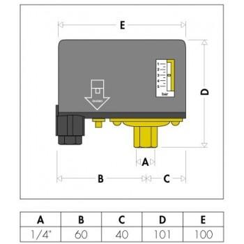 "625 Pressostato per autoclavi 500V ø1/4""F 1÷5bar CAL625005"