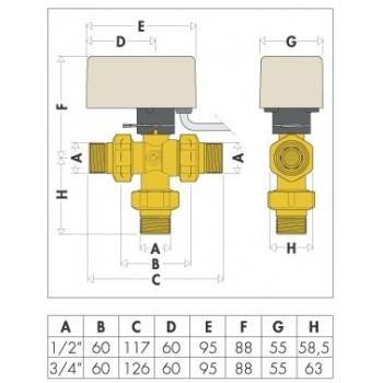 """6443 valvola 3V motorizzata ø3/4"""" 230V Kv 3,9m3/h 4VA. 644352 - Valvole di zona"""