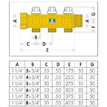 """6630 collettore con valvola intercettazione ø1.1/4"""" 6DER.ø3/4""""M 663060"""