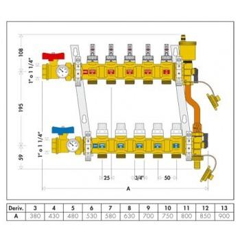 """668S1 collettore premontato ø1"""" 11DER. ø3/4"""" 6686M5S1"""