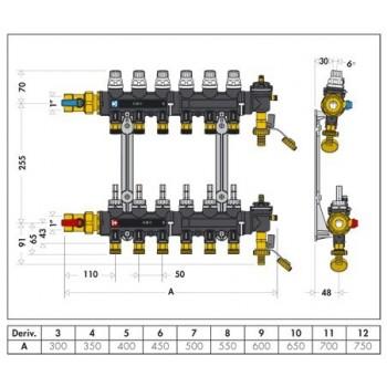 """671 gruppo collettori PREM. senza cassetta ø1""""F 7DER.ø3/4""""M 6716G1 - Collettori di distribuzione"""