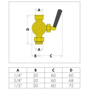 "690 rubinetto manometro a 3vie ø1/4"" ISPESL CAL690200"