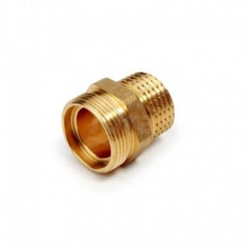 R180R Raccordo diritto, filettato maschio, in ottone, con attacco per adattatore tubo rame, plastica o multistrato R180RY016
